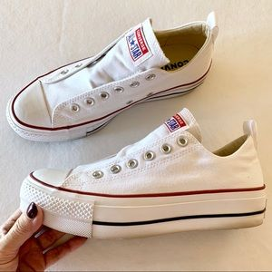 Converse All-Stars white platform low-top sneakers